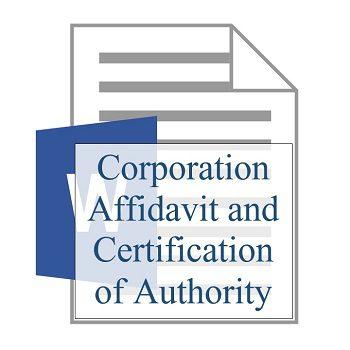 Corporation Affidavit and Certification of Authority 350