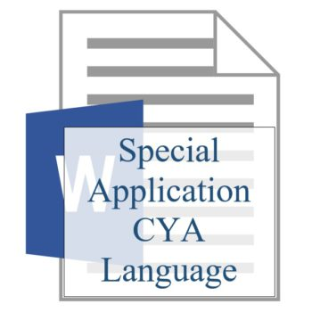 Special Application CYA Language - Resident Sign Up - Training Property Managers LLC
