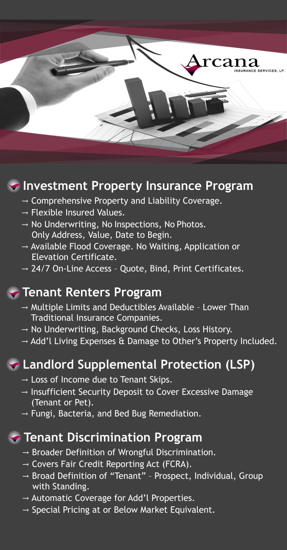 Arcana Insurance Services Training Property Managers Investment Property Insurance Program Tenant Renters Program Landlord Supplemental Protection Tenant Discrimination Program