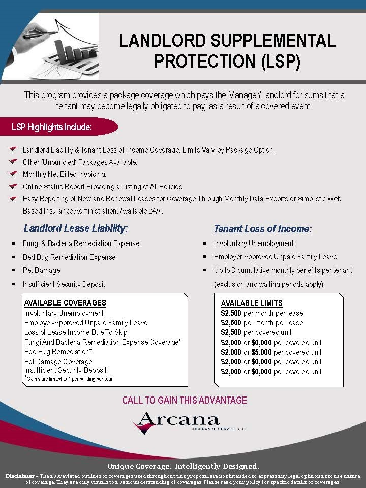Landlord Supplemental Protection LSP Arcana Insurance Services