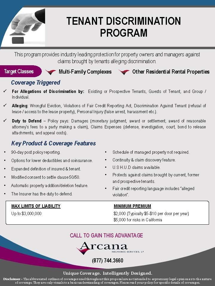 Tenant Discrimination Program Arcana Insurance Services Training Property Managers Trusted Vendor
