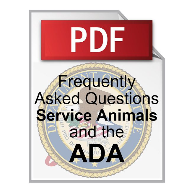 Product Frequently Asked Questions about Service Animals and the ADA