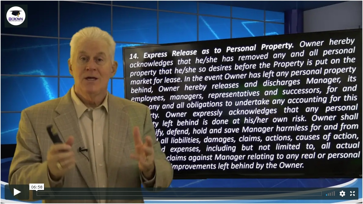Building a Customized Property Management Agreement Release manager from accounting for Personal Property