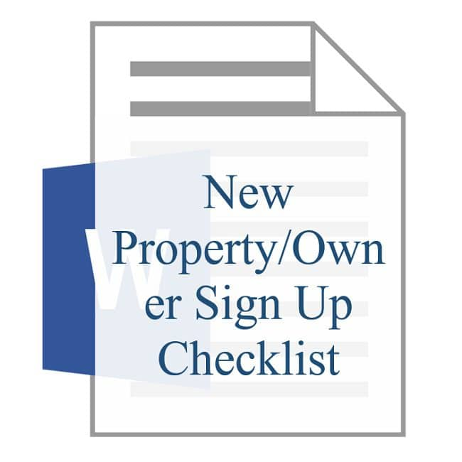 New Property Owner Sign Up Checklist