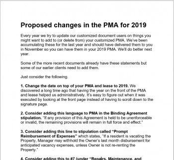 Proposed Changes in the PMA for 2019