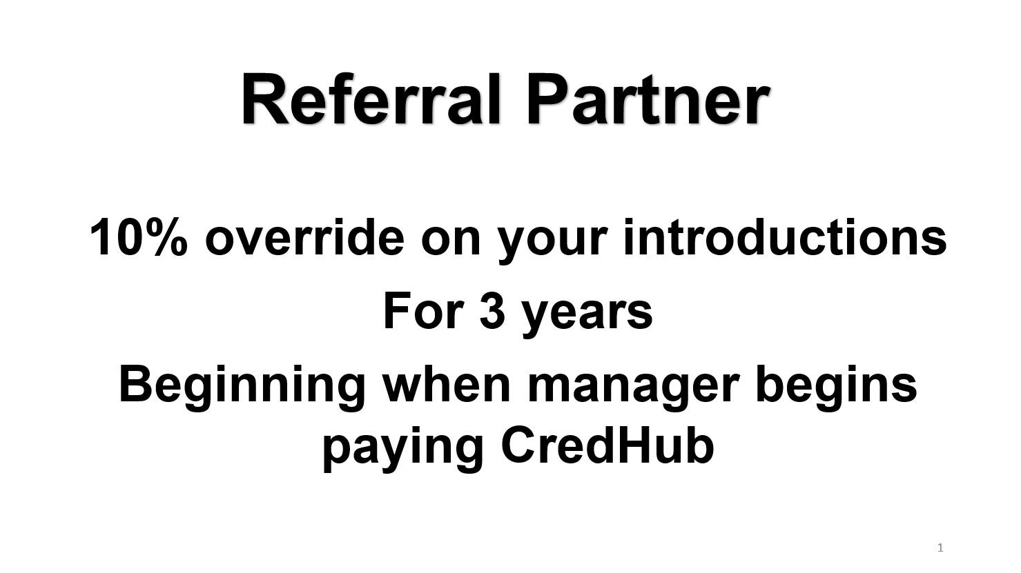 Referral Partner Program slide 1